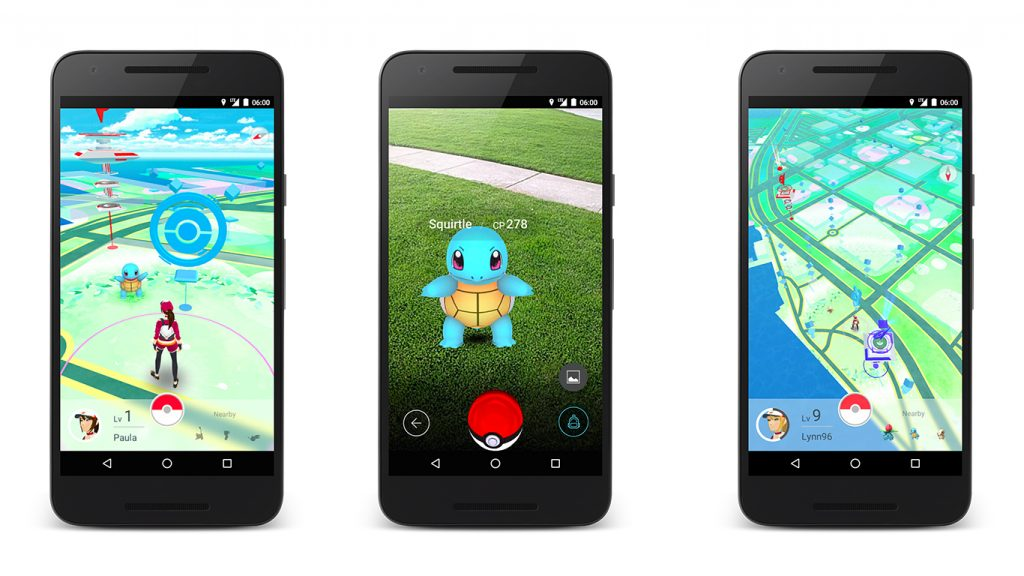 Screenshots of Pokémon Go on Android Phones